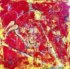 """""""TAURUS III"""", Öl auf Leinwand, Spachtel/reines Gold 24 Karat, 120x120"""