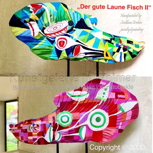 """""""Der gute Laune Fisch II"""", Teakholz"""