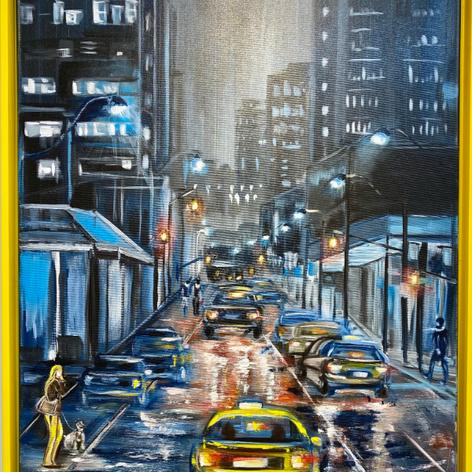 """Night city"", Acryl auf Leinwand, Pinsel/Spachtel, 60x80"