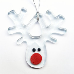 Rudolph, fused glass, Magpie Glass