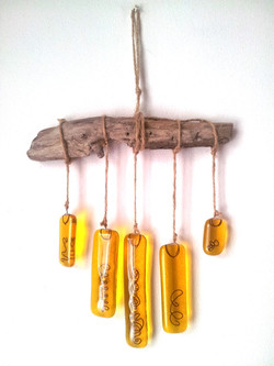 Glass wind chime mobile