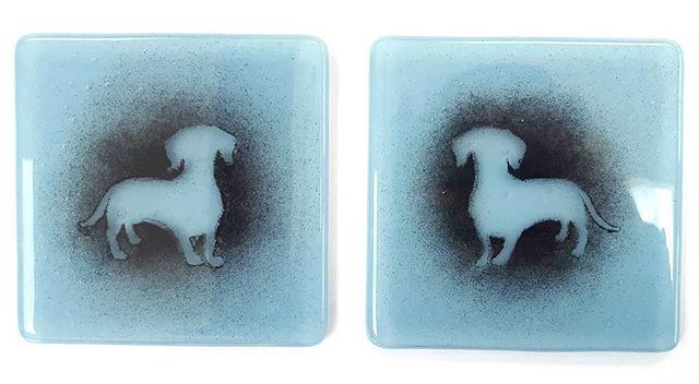 Fused glass coaster, dog, dachshund