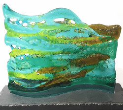 Glass wave, Magpie Glass fused glass
