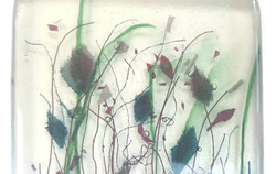Fused glass coaster, long grass