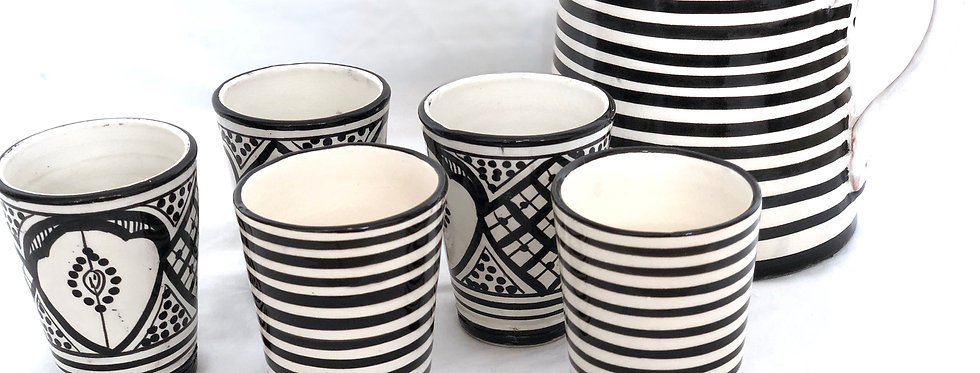 Black & White Striped Ceramic Cups