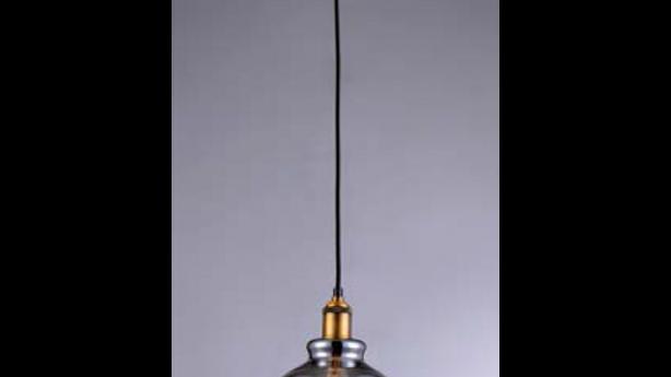Pendente vidro metalizado cromado 200mm