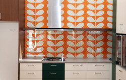 IMG 9301 Low Iron Clear toughened glass splashback with pin fixings and powerpoint cutouts