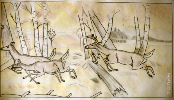 Untitled (Deers in Forest)