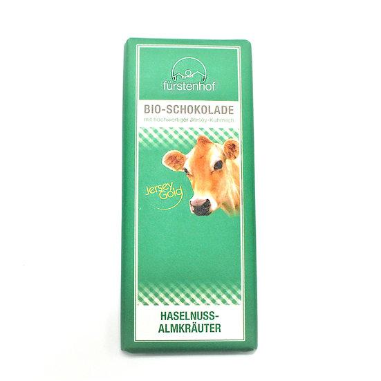 Bio JerseyGold Schokolade Haselnuss/Almräuter, 70g