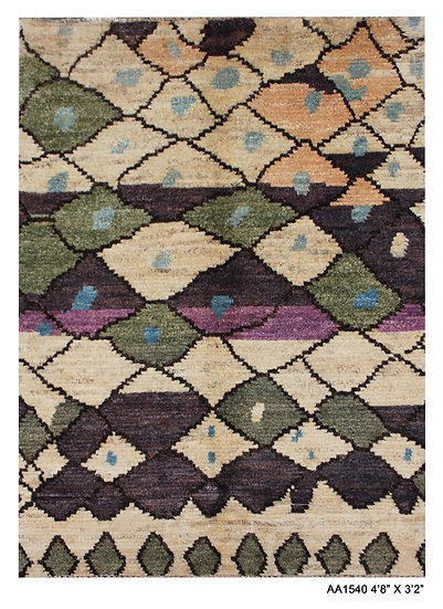"""Hand Knotted Modern Moroccan rug 3'2"""" x 4'8"""""""