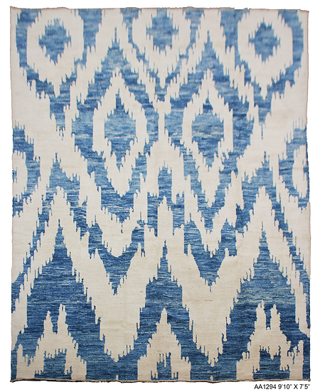 """Hand Knotted Ikat Rug -  9'10"""" x 13'14"""""""