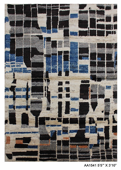 """Hand Knotted Modern Moroccan Rug 3'10' x 5'5"""""""