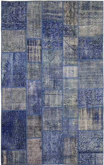 """Hand Knotted Antique Patchwork Rug - 6'3"""" x 9'6"""""""