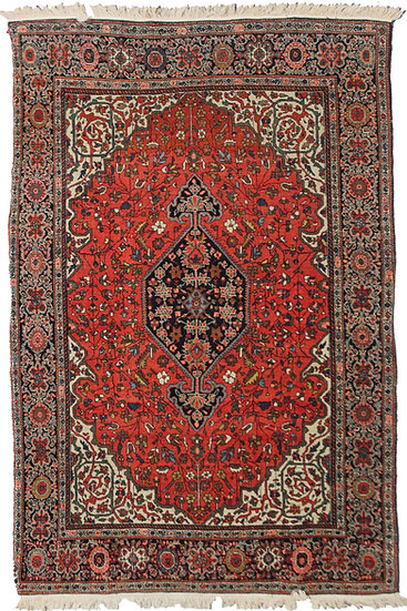 """Hand Knotted Antique Saruk Farhan Rug - 6'10"""" X 4'1"""""""