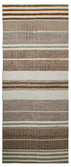 "Hand Knotted Natural Wool & Cotton Navajo Rug  8'0""x 22'0"""