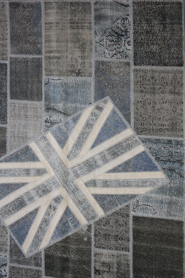 "Hand Knotted Antique Patchwork Flag Rug - 6'7"" x  9'10"""