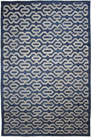 Hand Knotted Blue Modern Kilim - 12′4″ × 17′4″