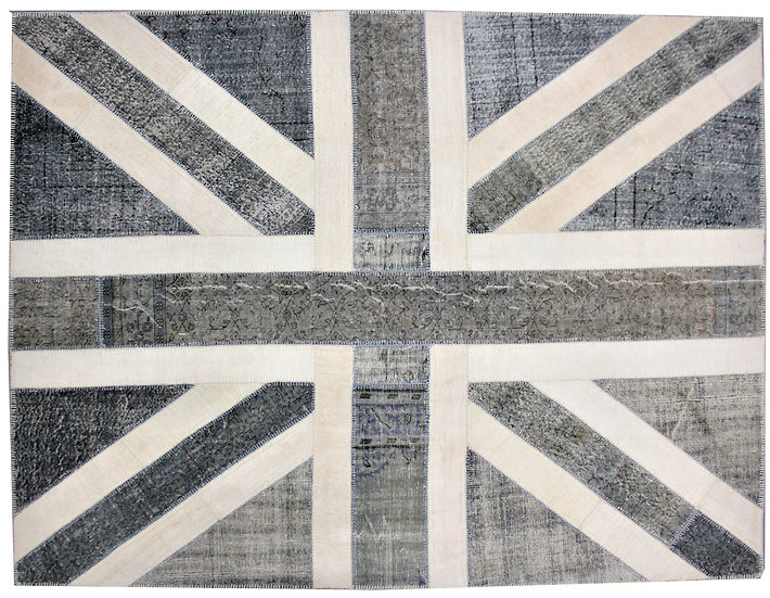 "Hand Knotted Antique Patchwork Flag Rug- 7'10"" x 9'11"""