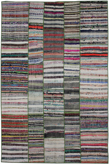 """Hand Knotted Antique Patchwork Rug - 6'5"""" x 9'6"""""""