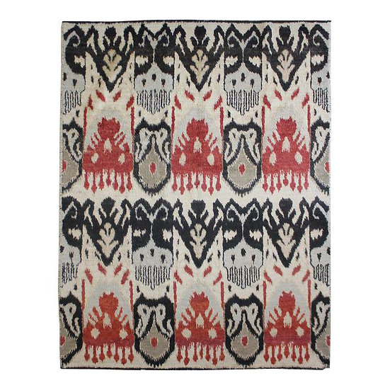 "Hand Knotted Ikat Rug - 9'2"" x 12'5"""