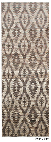 "Hand Knotted Natural Wool Modern Runner. 9'10"" x 3'2"""