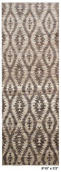 "Hand Knotted Natural Wool Modern Runner. 9'10"" x 3'3"""