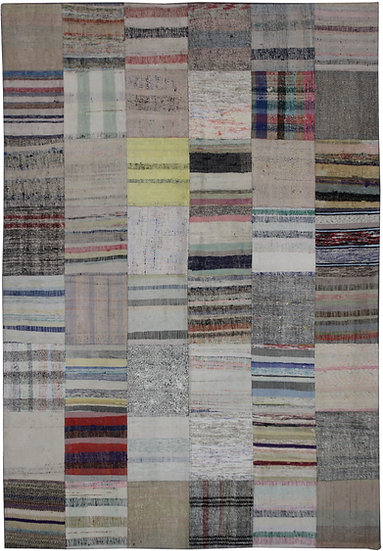 """Hand Knotted Antique Patchwork Kilim - 5'7' x 7'9"""""""