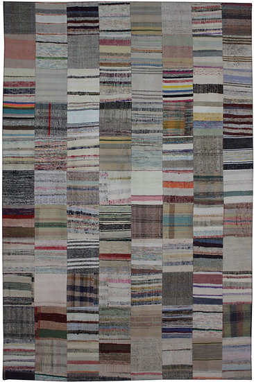 """Hand Knotted Antique Patchwork Rug. 8'0"""" x 11'7"""""""