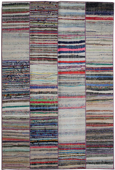 "Hand Knotted Antique Patchwork Rug - 6'8"" x 9'4"""
