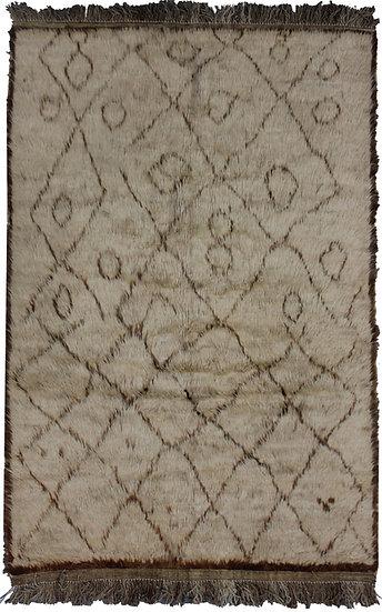 Hand Knotted Shag Area Rug - 3′9″ × 5′6″