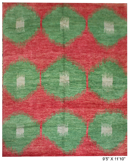 """Hand Knotted Ikat Rug - 9'5"""" x 11'10"""""""