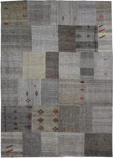 "Hand Knotted Antique Patchwork Kilim - 7'11"" x 11'7"""