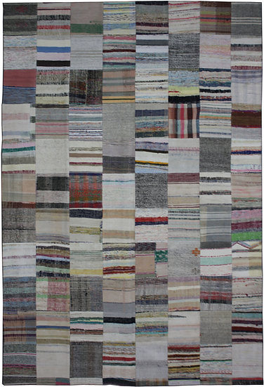 "Hand Knotted Antique Patchwork Rug - 8'0"" x 11'6"""
