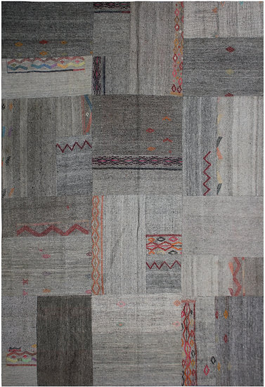 """Hand Knotted Antique Patchwork Kilim -12'11"""" x 9'7"""""""