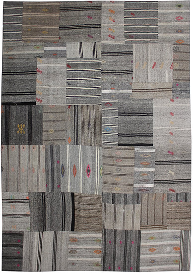 "Hand Knotted Antique Patchwork Kilim - 8'8"" x 11'5"""