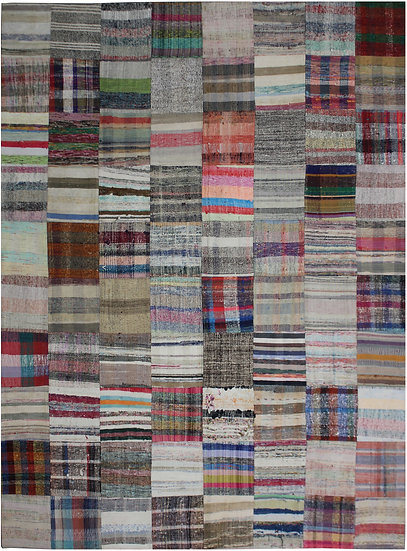 """Hand Knotted Antique Patchwork Rug - 7'10"""" x 9'9"""""""