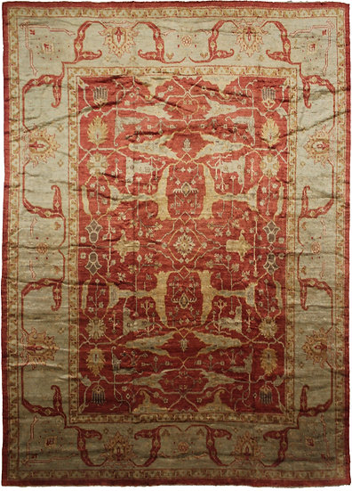 "Hand Knotted Fine Oushak Rug - 15'0"" X 12'0"""