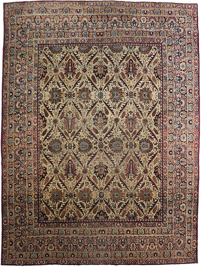 "Hand Knotted Antique Kerman Shah Rug - 9'0"" x 11'0"""