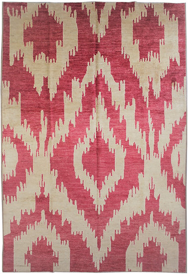 """Hand Knotted Ikat Rug - 10'6"""" X 13'4"""""""