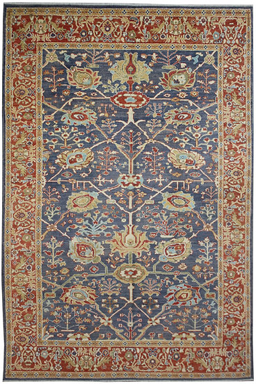 "Hand Knotted Oushak Rug  - 11'3"" X 8'9"""