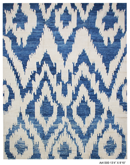 """Hand Knotted Ikat Rug - 8'4"""" X 9'10"""""""