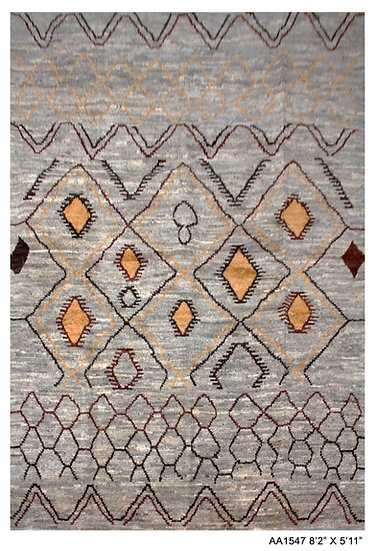 """Hand Knotted Modern Moroccan Rug 5'11"""" x 8'2"""""""