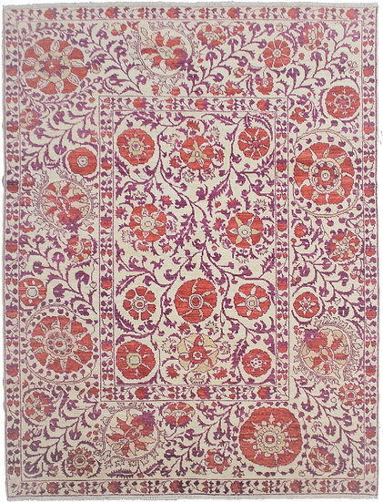 """Hand-Knotted Suzani Design Rug - 10'1"""" x 8'0"""""""