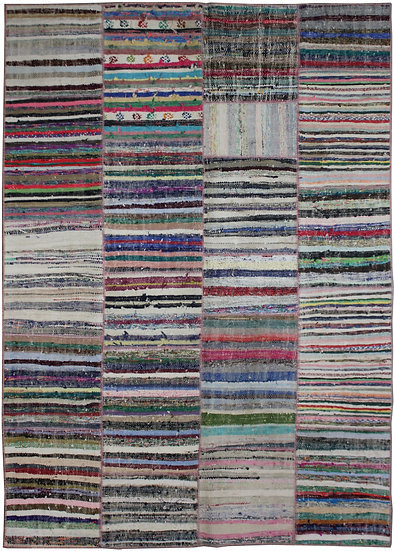 """Hand Knotted Antique Patchwork Rug - 6'6"""" x 9'3"""""""