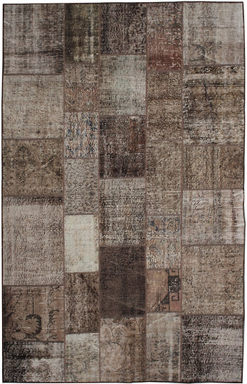 "Hand Knotted Antique Patchwork Rug - 6'4"" x 9'5"""