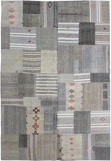 "Hand Knotted Antique Patchwork kilim.   8'5"" x 11'3"""