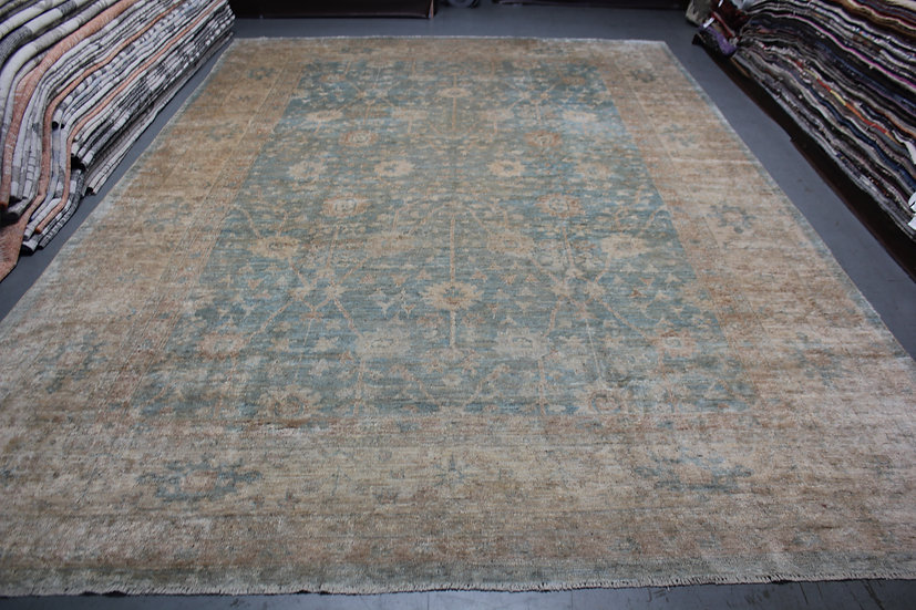 """Hand Knotted Oushak Rug 12'3"""" x 17'2"""""""