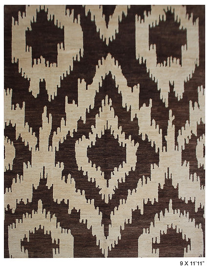 """Hand Knotted Ikat Rug - 9'0"""" x 11'11"""""""