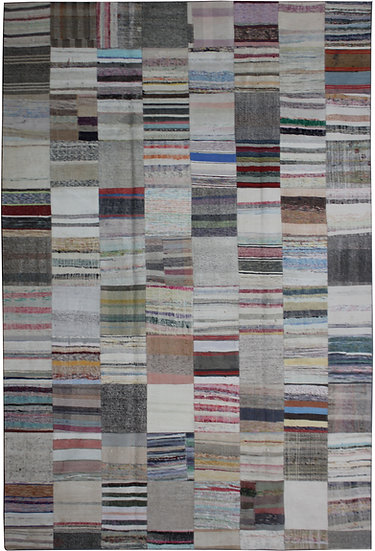 """Hand Knotted Antique Patchwork Rug - 8'1"""" x 11'5"""""""
