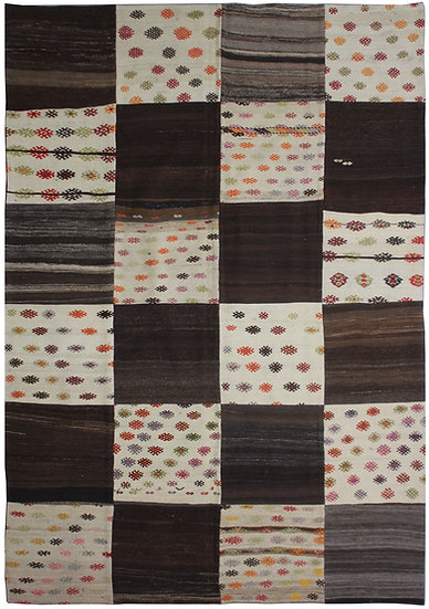 "Hand Knotted Antique Patchwork Kilim - 6'8"" x 10'2"""